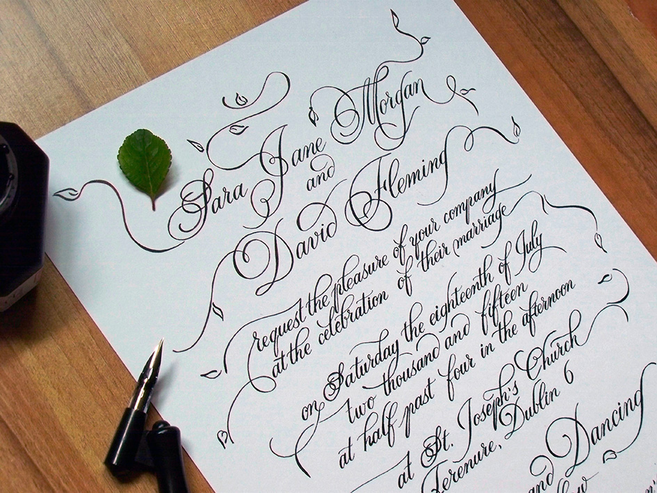 Hand lettered Names in Invitations