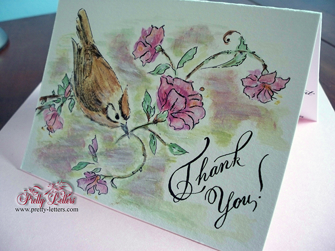 Hand-painted thank you card and calligraphy