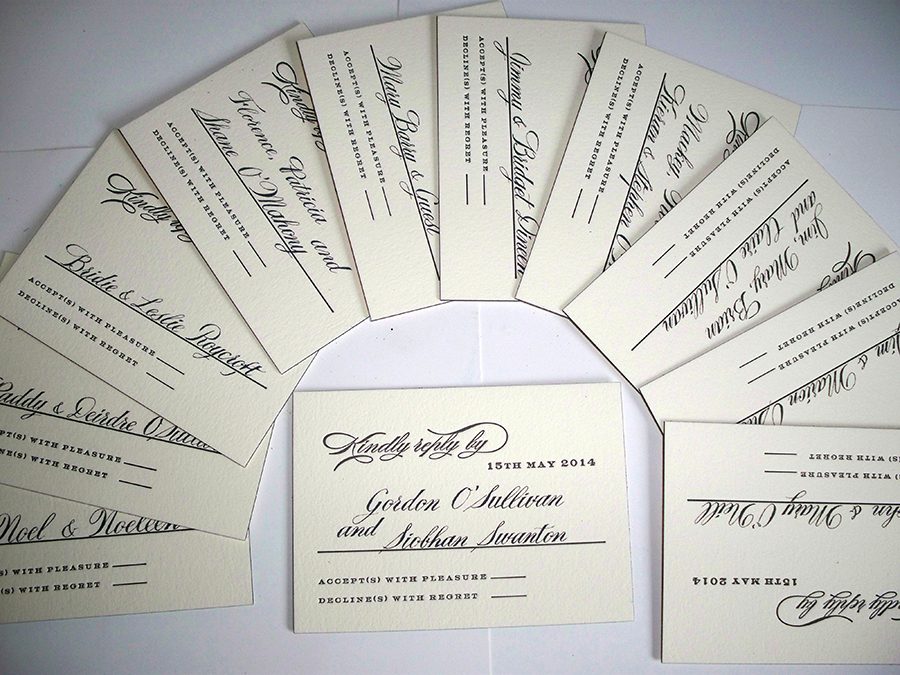 Hand lettered Names on RSVP cards