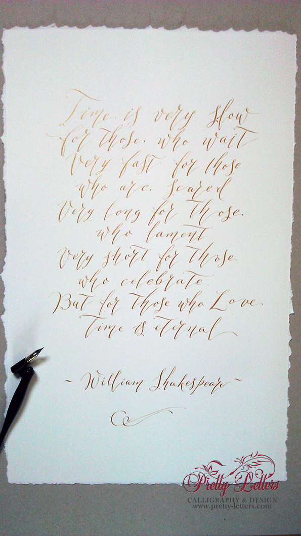 Custom calligraphy work-Time is very slow by W.Shakespeare