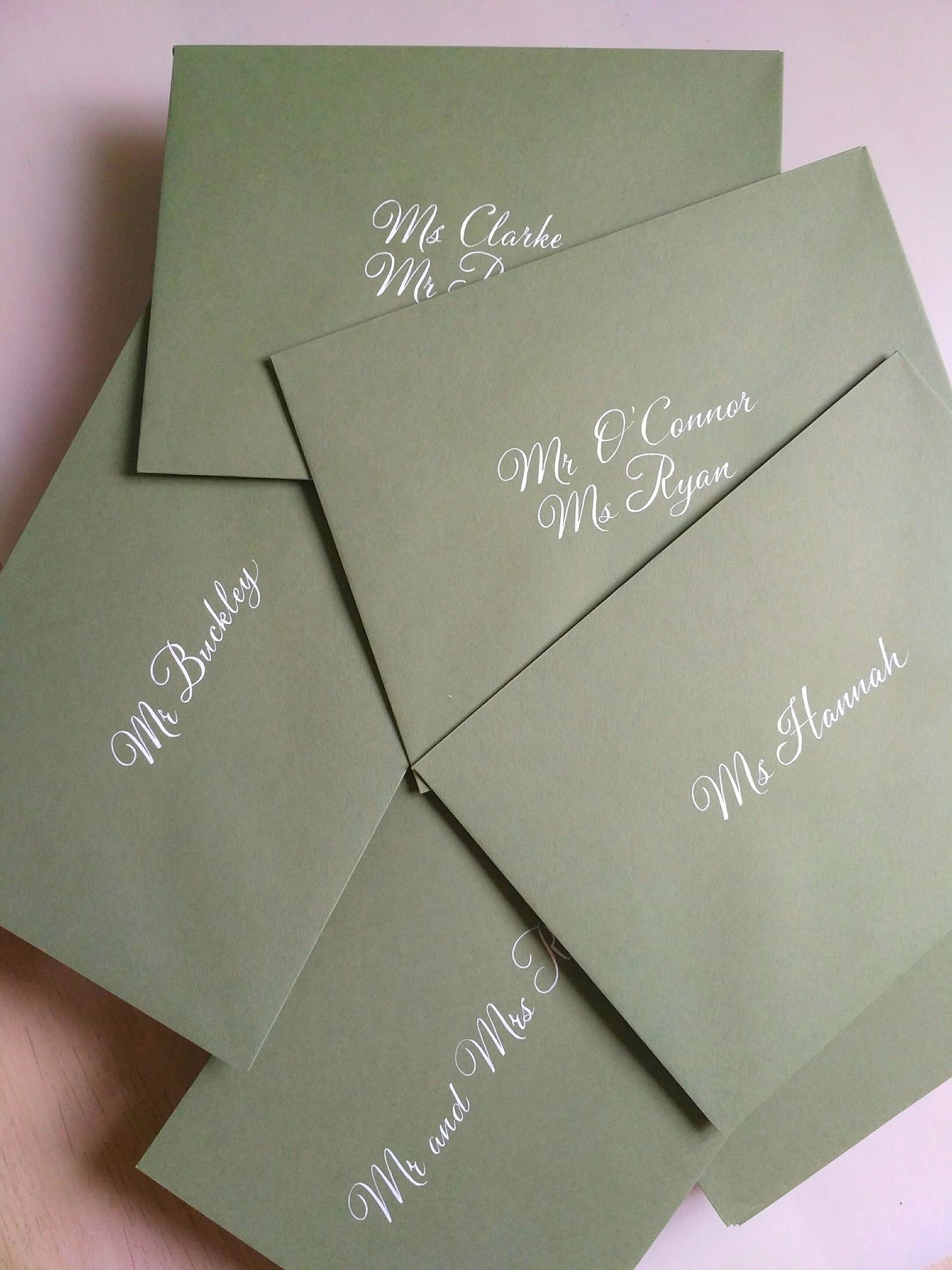Envelope calligraphy - white ink