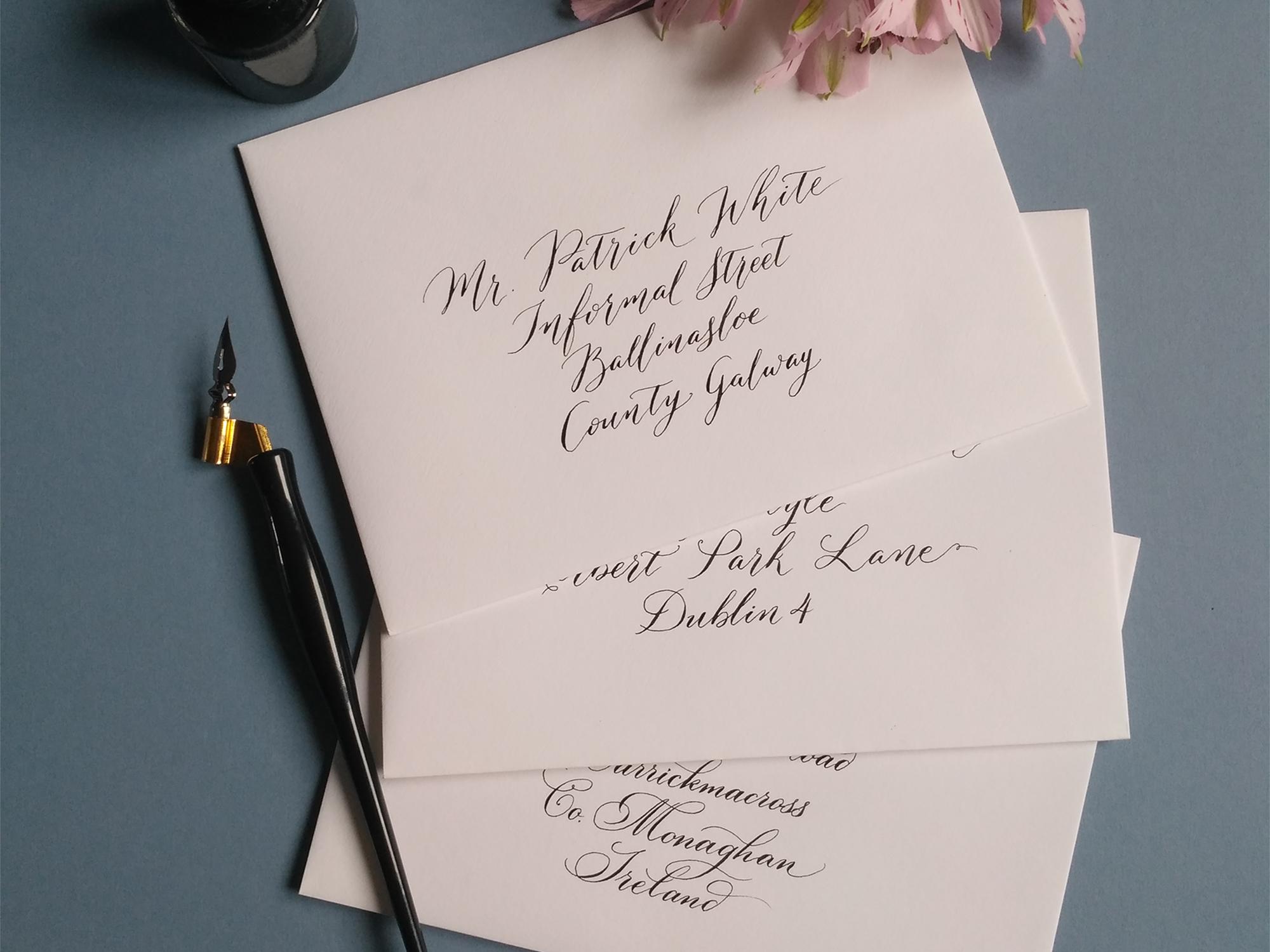 Envelope addressing, calligraphy