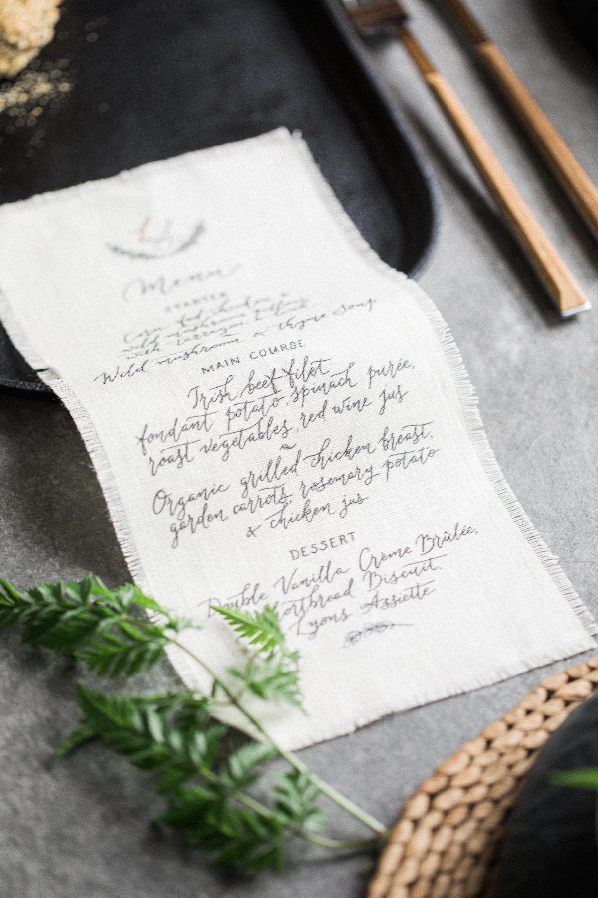 Linen fabric menu